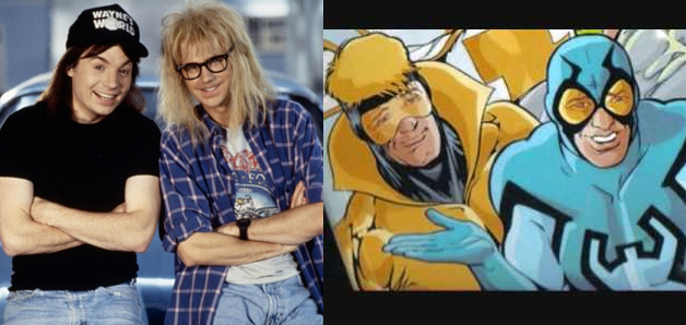 MIKE MYERS AND DANA CARVEY AS BOOSTER GOLD AND BLUE BEETLE